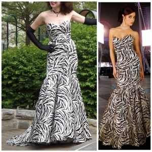 Satin Zebra Print Mermaid Prom Dress Jovani '09